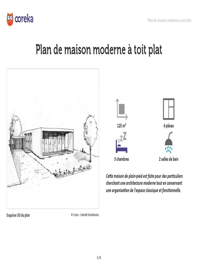 Plan De Maison Moderne plan de maison plain pied moderne toit plat