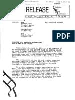 PG and PG-13 Descriptors Press Release (1992)
