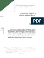 CALAZANS; BASTOS - Urgência Subjetiva e Clínica Psicanalítica