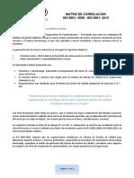Matriz de Correlacion ISO 9001 2008 a 2015