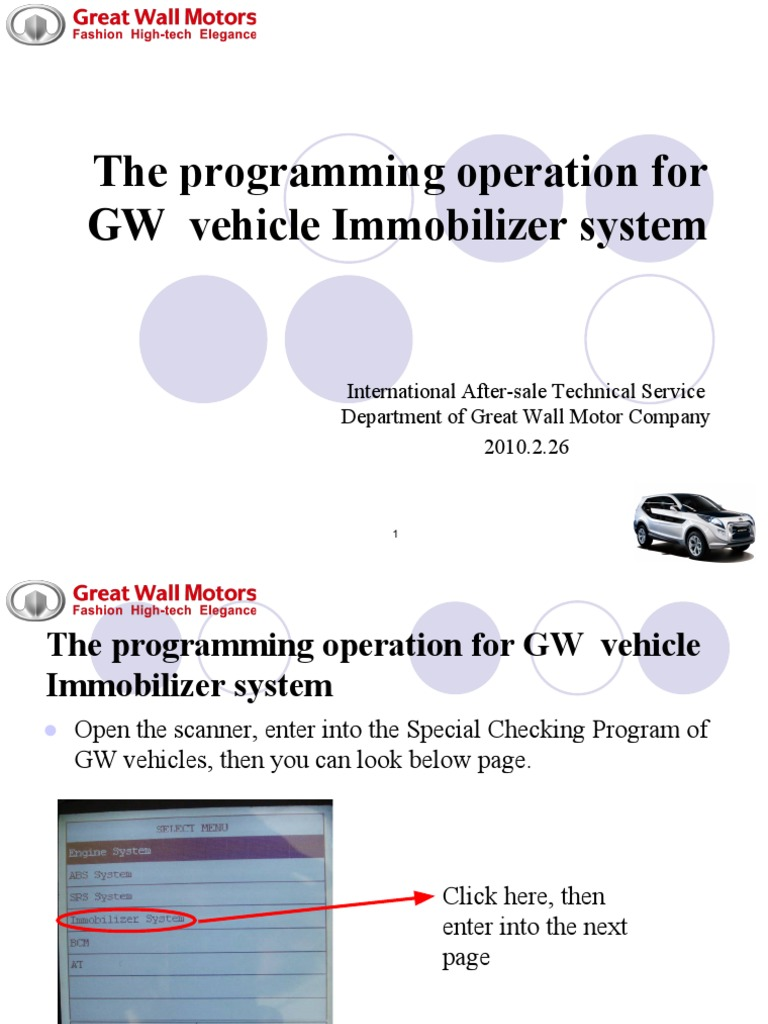 Programming Operation for GW Vehicle Immobilizer System | Systems