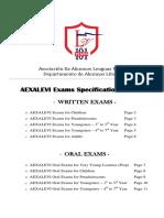 Especificaciones de Examenes