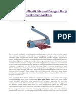 2 Mesin Pres Plastik Manual Dengan Body Metal Yang Direkomendasikan