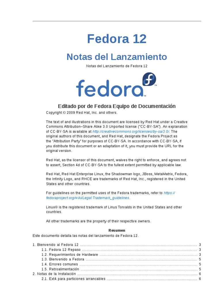 Notas Del Lanzamiento Fedora 12