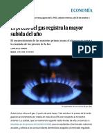 El Precio Del Gas Registra La Mayor Subida Del Año