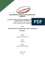Diferencias Entre Contabilidad de Costos Y Contabilidad Financiera