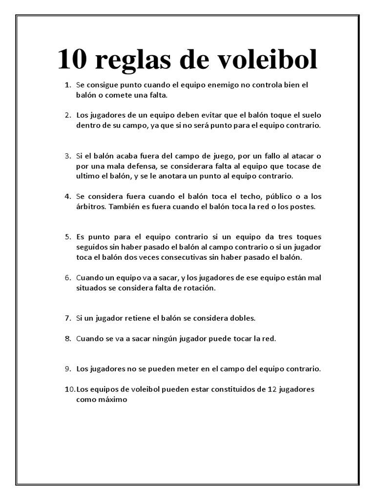 10 reglas de juego del voleibol