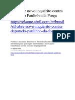 STF Abre Novo Inquérito Contra Deputado Paulinho Da Força
