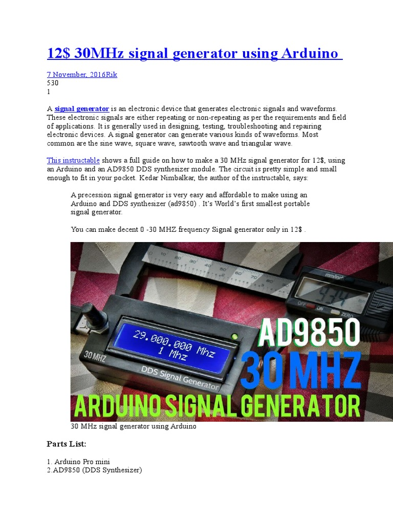Signal Generator | Synthesizer | Electronic Circuits