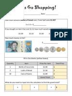 money maths worksheet friday 19th