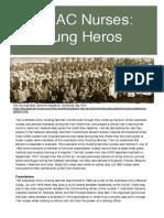 ANZAC Nurses- Unsung Heros