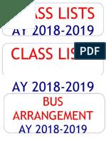 Class Lists & Bus Arrangement Label