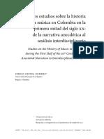Los estudios sobre la historia de la música en Colombia en la primera mitad del siglo XX - de la narrativa anecdótica al análisis interdisciplinario - Sergio Ospina Romero.pdf