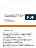 Summary of the Anti-Counterfeiting Trade Agreement (ACTA)