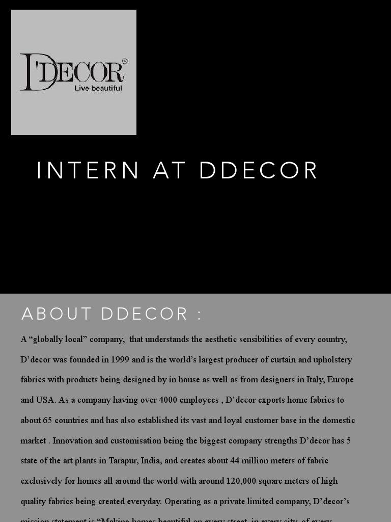 Internship At D Decor Retail Business