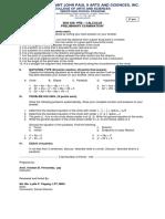CSJP Pre-Calculus Prelim Exam SET A