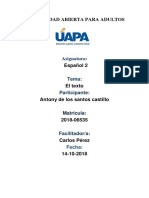 Antony de Los Santos-español 2 - Unidad 1