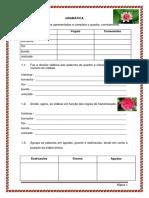 Exercícios de Gramática 5º Ano - 1º Teste