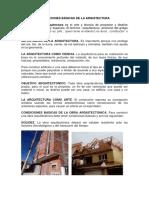 Condiciones básicas de la arquitectura