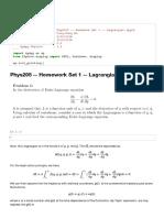 Phys205 -- Homework Set 1 -- Lagrangian