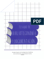 Tesauro Biblioteconomía Documentación CSIC