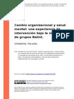 Urtizberea, Facundo (2010). Cambio organizacional y salud mental. Grupos Balint