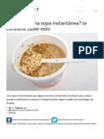¿Comes Mucha Sopa Instantánea? Te Conviene Saber Esto.