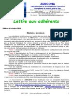 Lettre Aux Adhérents Octobre 2018