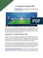 Prediksi PSG vs Napoli 25 Oktober 2018
