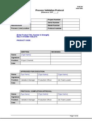Tem 290 Process Validation Protocol Template Sample