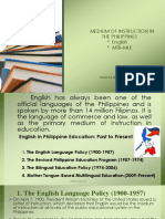 The Philippine Education Past to Present Medium of Instruction
