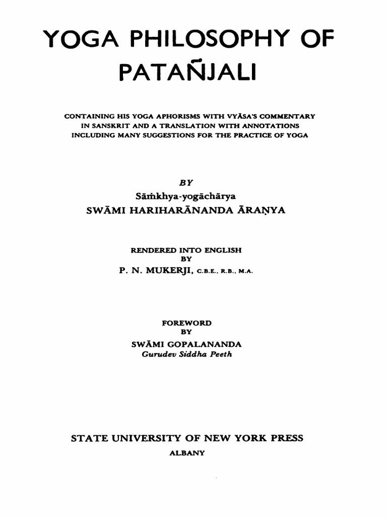 Swami Hariharananda Aranya Yoga Philosophy Of Patanjali 1963 Astika Religious Belief And Doctrine