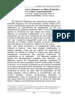La Gestion Des Ressources Humaines en Milieu Hospitalier Analyse Par La Culture Organisationnelle RCDSP-Volume 2017, Numéro 2, Pages 76-100