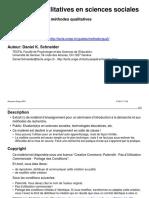 Méthodes Qualitatives en Sciences Sociales
