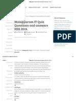 Malappuram IT Quiz Questions and Answers HSS 2016 - IT Quiz