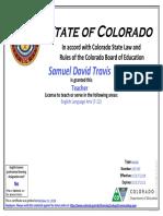 samuel travis - teaching license