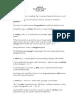 English 8 Vocabulary List #1--Aug. 2014