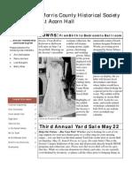 Morris County Historical Society Spring Newsletter 2010