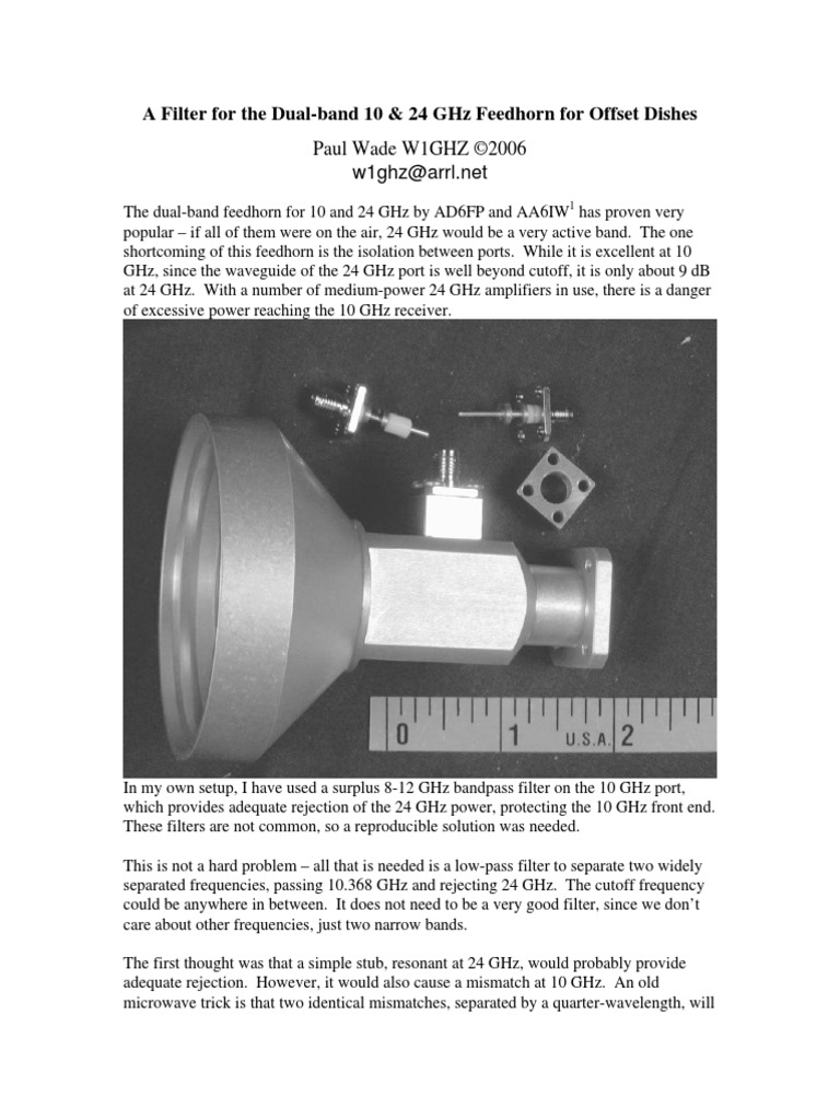 A Filter for the Dual-band 10 & 24 GHz Feedhorn for Offset