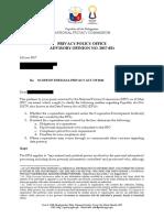 NPC Advisory OpinionNo. 2017-021