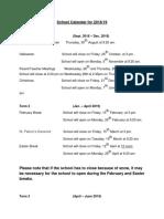 school calendar for 2018 2f19