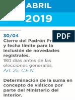 Cronograma Elecciones 2019