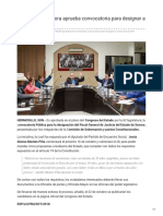 Congreso de Sonora aprueba convocatoria para designar a nuevo Fiscal.