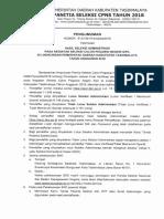 Kab. Tasikmalaya - Pengumuman Hasil Seleksi Administrasi 2