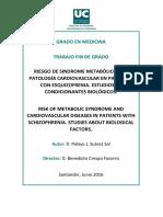Riesgo de Sindrome Metabolico y Cv en Pacientes Con Es Quizofrenia