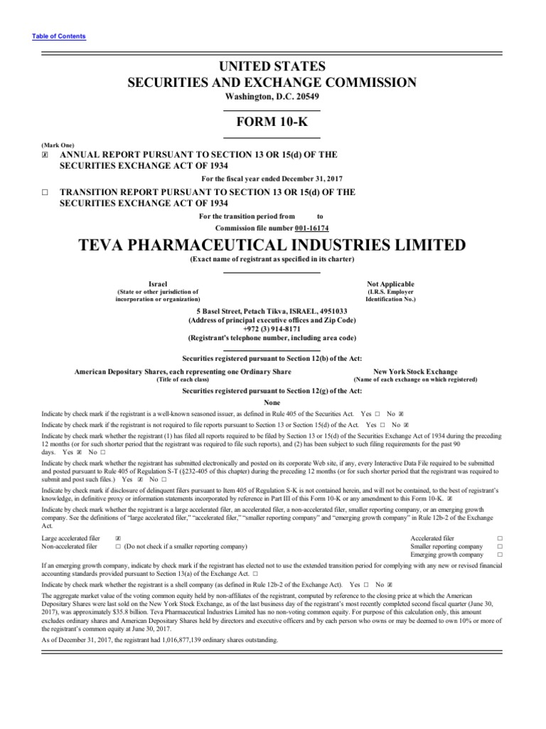 28625de272c904 Teva AR 2017 PharmaceuticalIndustriesLtd