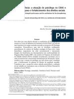 Relato de Experiência - A Atuação Do Psicólogo No CRAS e Sua Contribuição Para o Fortalecimento de Direitos Sociais