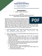 Pengumuman II Seleksi Administrasi Cpns 2018
