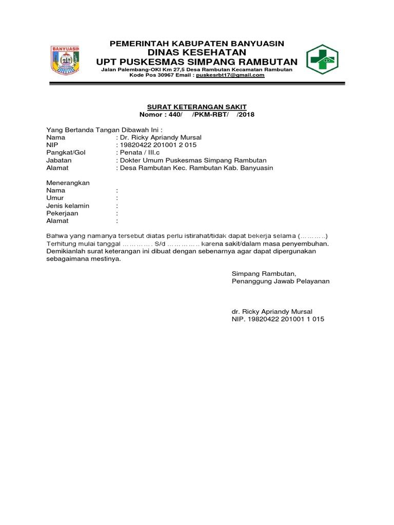 Surat Keterangan Sakit Puskesmas Palembang Anti Feixista