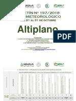 Boletín Nº 197-2018 Agrometeorológico Del 21 Al 31 de Octubre Altiplano